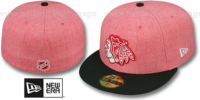 Blackhawks '2T-HEATHER' Red-Black Fitted Hat by New Era : pictured without stickers that these products are shipped with