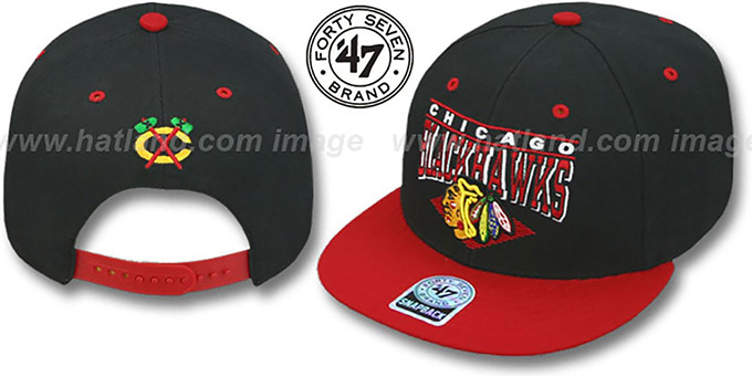 Blackhawks '2T HOLDEN SNAPBACK' Adjustable Hat by Twins 47 Brand : pictured without stickers that these products are shipped with