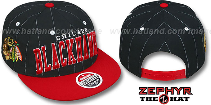 Blackhawks '2T PINSTRIPE SUPER-ARCH SNAPBACK' Black-Red Hat by Zephyr : pictured without stickers that these products are shipped with