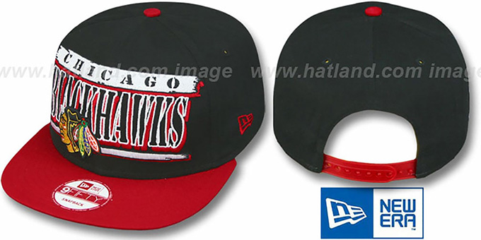 Blackhawks '2T STILL BREAKIN SNAPBACK' Black-Red Hat by New Era : pictured without stickers that these products are shipped with