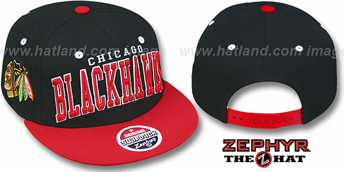 Blackhawks '2T SUPER-ARCH SNAPBACK' Black-Red Hat by Zephyr : pictured without stickers that these products are shipped with