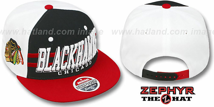 Blackhawks '2T SUPERSONIC SNAPBACK' Black-Red Hat by Zephyr : pictured without stickers that these products are shipped with