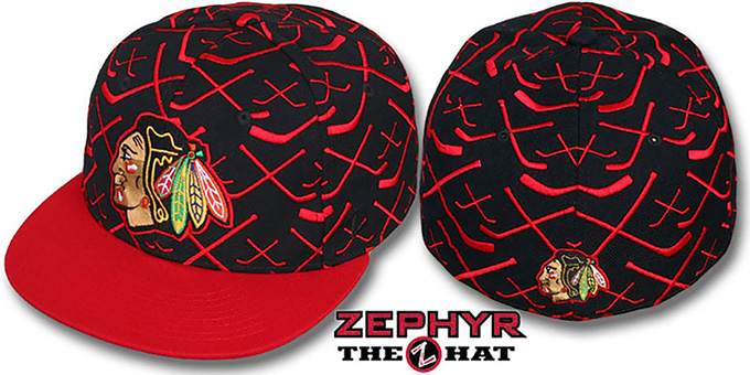 Blackhawks '2T TOP-SHELF' Black-Red Fitted Hat by Zephyr : pictured without stickers that these products are shipped with