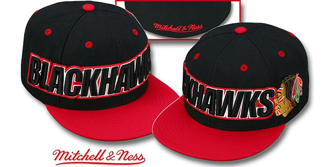Blackhawks '2T WORDMARK' Black-Red Fitted Hat by Mitchell & Ness : pictured without stickers that these products are shipped with