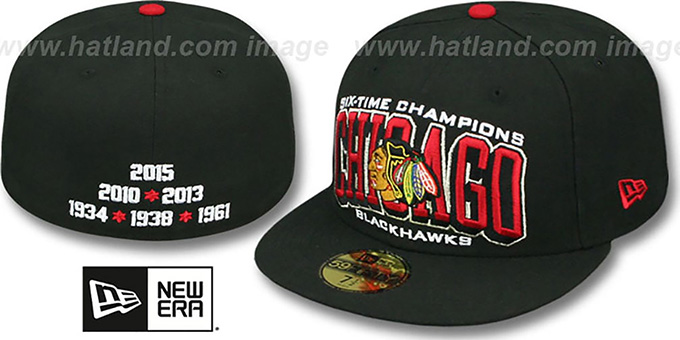 Blackhawks '6 TIME CHAMPS ARCH' Black Fitted Hat by New Era