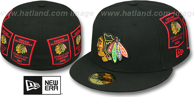 Blackhawks '6 TIME CHAMPS TOTAL-LOGO' Black Fitted Hat by New Era : pictured without stickers that these products are shipped with