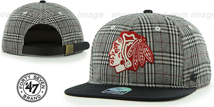Blackhawks '60-MINUTES STRAPBACK' Black Hat by Twins 47 Brand : pictured without stickers that these products are shipped with