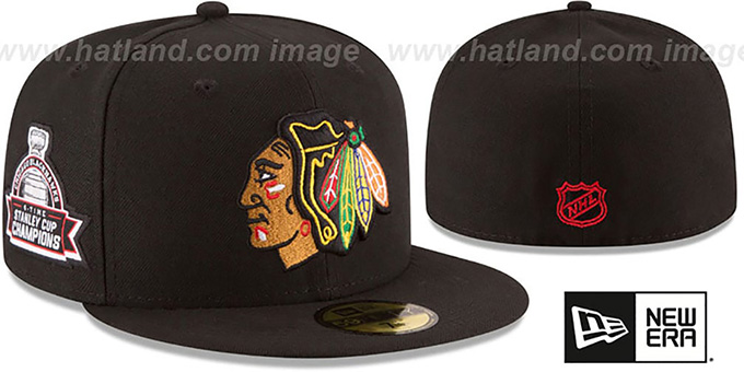 Blackhawks 6X 'TITLES SIDE-PATCH' Black Fitted Hat by New Era : pictured without stickers that these products are shipped with