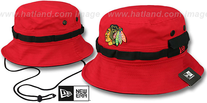 Blackhawks 'ADVENTURE' Red Bucket Hat by New Era : pictured without stickers that these products are shipped with