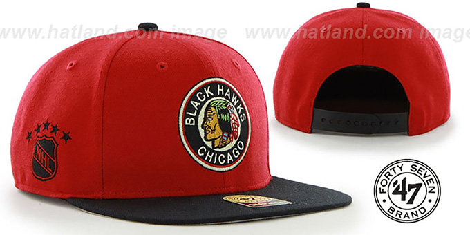 Blackhawks ALT 'SURE-SHOT SNAPBACK' Red-Black Hat by Twins 47 Brand : pictured without stickers that these products are shipped with