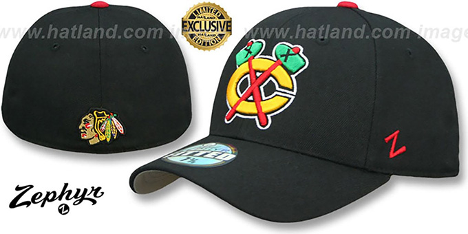 Blackhawks 'ALTERNATE SHOOTOUT' Black Fitted Hat by Zephyr