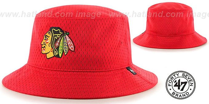 Blackhawks 'BACKBOARD JERSEY BUCKET' Red Hat by Twins 47 Brand : pictured without stickers that these products are shipped with