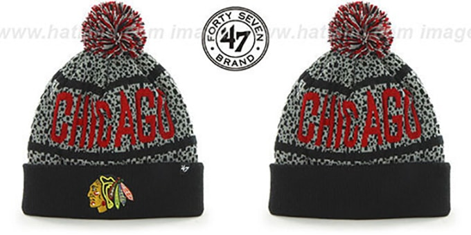 Blackhawks 'BEDROCK' Black-Grey Knit Beanie Hat by Twins 47 Brand : pictured without stickers that these products are shipped with