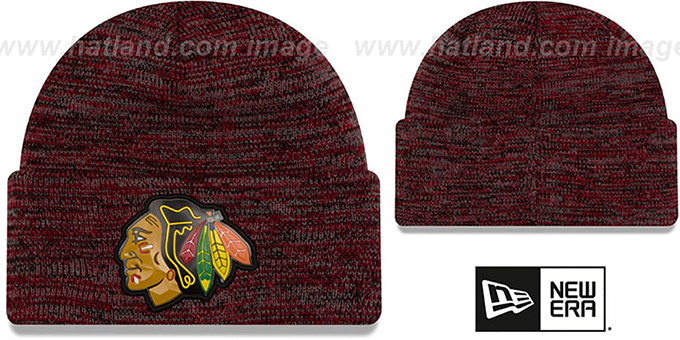 Blackhawks 'BEVEL' Black-Red Knit Beanie Hat by New Era : pictured without stickers that these products are shipped with