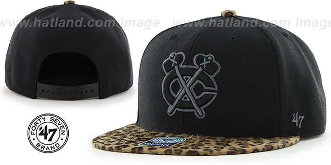 Blackhawks 'BLACK LEOPARD SNAPBACK' Hat by Twins 47 Brand : pictured without stickers that these products are shipped with