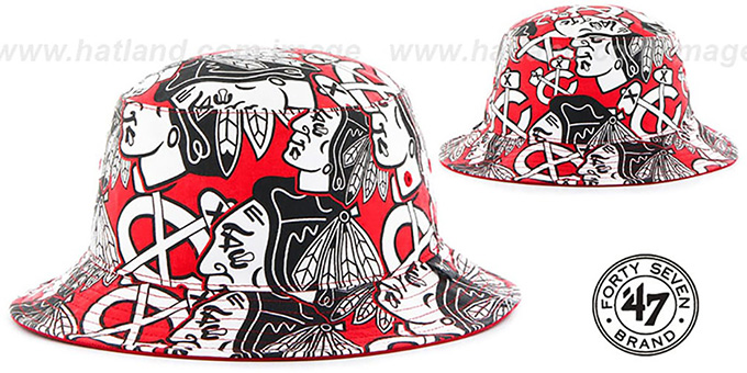Blackhawks 'BRAVADO BUCKET' Hat by Twins 47 Brand : pictured without stickers that these products are shipped with
