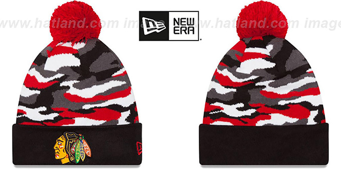 Blackhawks 'CAMO CAPTIVATE' Knit Beanie Hat by New Era : pictured without stickers that these products are shipped with
