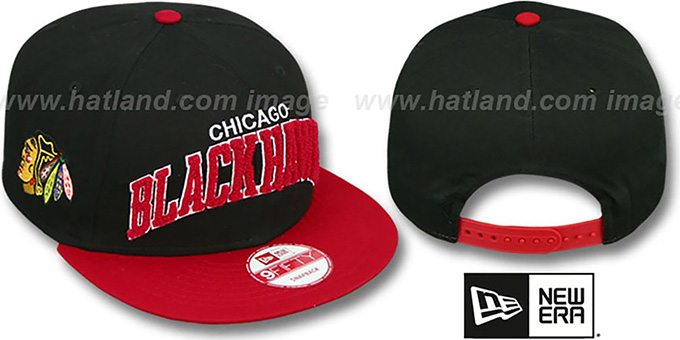 Blackhawks 'CHENILLE-ARCH SNAPBACK' Black-Red Hat by New Era : pictured without stickers that these products are shipped with