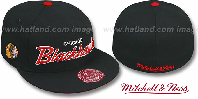 Blackhawks 'CLASSIC-SCRIPT' Black Fitted Hat by Mitchell & Ness : pictured without stickers that these products are shipped with