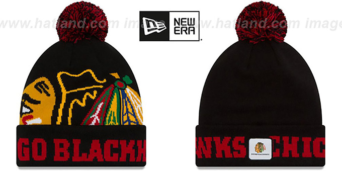 Blackhawks 'COLOSSAL-TEAM' Black Knit Beanie Hat by New Era : pictured without stickers that these products are shipped with