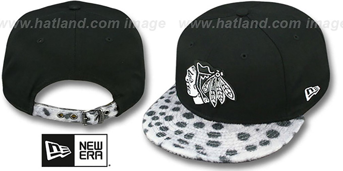 Blackhawks 'DALMATION ANIMALISTIC-FUR VIZA STRAPBACK' Hat by New Era : pictured without stickers that these products are shipped with