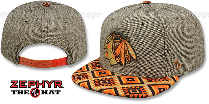 Blackhawks 'DREAM CATCHER SNAPBACK' Hat by Zephyr : pictured without stickers that these products are shipped with