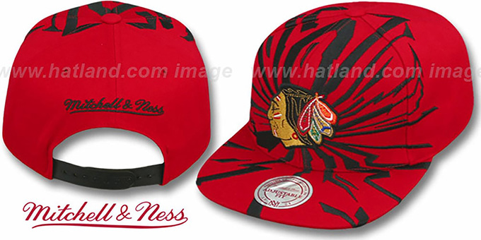 Blackhawks 'EARTHQUAKE SNAPBACK' Red Hat by Mitchell & Ness : pictured without stickers that these products are shipped with