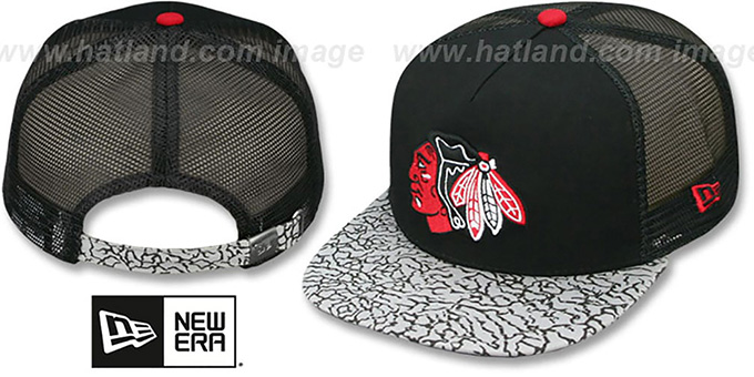 Blackhawks 'ELEPHANT-HOOK STRAPBACK' Hat by New Era : pictured without stickers that these products are shipped with
