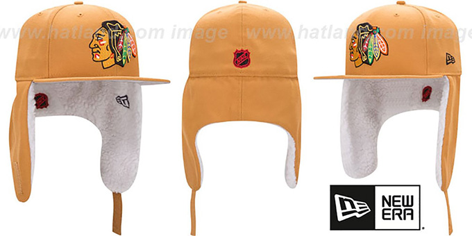 Blackhawks 'FLURRY-FIT DOGEAR' Wheat Fitted Hat by New Era : pictured without stickers that these products are shipped with