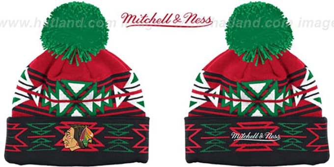 Blackhawks 'GEOTECH' Knit Beanie by Mitchell and Ness : pictured without stickers that these products are shipped with