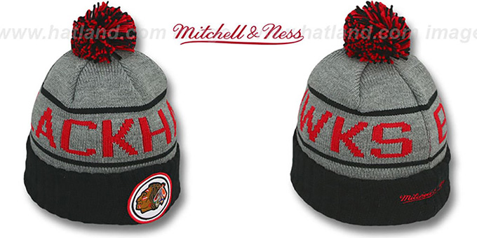 Blackhawks 'HIGH-5 CIRCLE BEANIE' Grey-Black by Mitchell and Ness : pictured without stickers that these products are shipped with