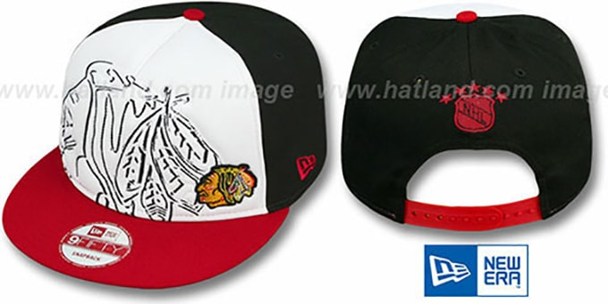 Blackhawks HW COOP 'POPLA-FOAM SNAPBACK' White-Black-Red Hat by New Era : pictured without stickers that these products are shipped with