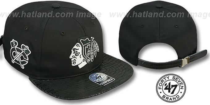 Blackhawks 'JULIGUNK STRAPBACK' Black-Silver Hat by Twins 47 Brand : pictured without stickers that these products are shipped with