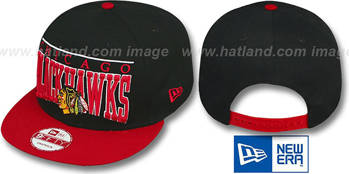 Blackhawks 'LE-ARCH SNAPBACK' Black-Red Hat by New Era : pictured without stickers that these products are shipped with