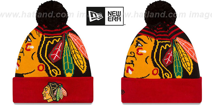 Blackhawks 'LOGO WHIZ' Black-Red Knit Beanie Hat by New Era : pictured without stickers that these products are shipped with
