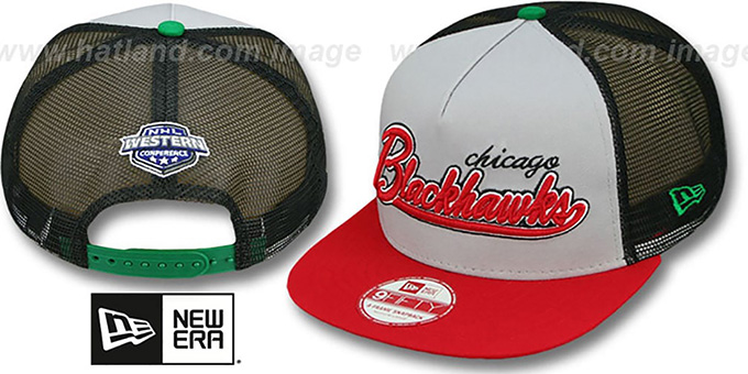 Blackhawks 'MARK-MESH A-FRAME SNAPBACK' Hat by New Era : pictured without stickers that these products are shipped with