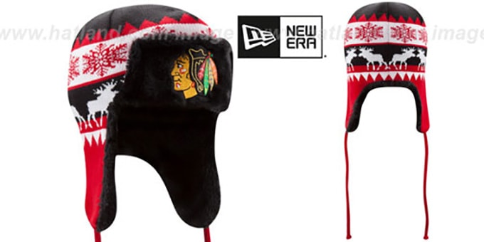 Blackhawks 'MOOSER TRAPPER' Black-Red Knit Hat by New Era : pictured without stickers that these products are shipped with