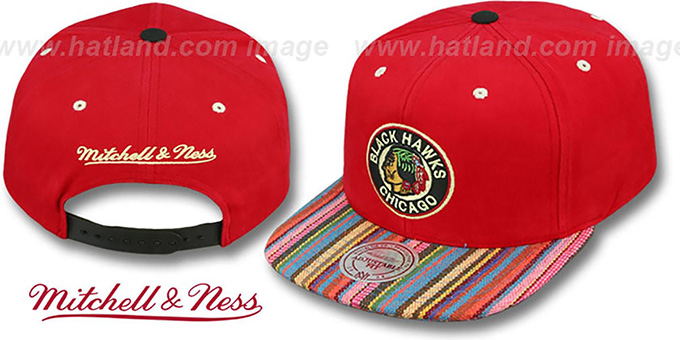 Blackhawks 'NATIVE-STRIPE SNAPBACK' Red Hat by Mitchell and Ness : pictured without stickers that these products are shipped with