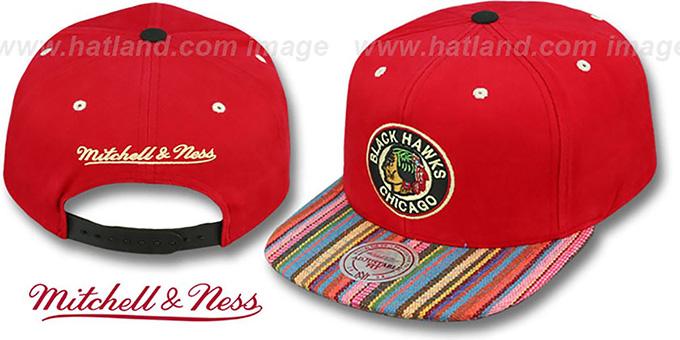 ada51083330b7 Blackhawks  NATIVE-STRIPE SNAPBACK  Red Hat by Mitchell and Ness