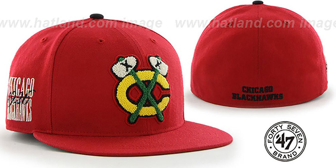 Blackhawks 'NHL ALT CATERPILLAR' Red Fitted Hat by 47 Brand : pictured without stickers that these products are shipped with