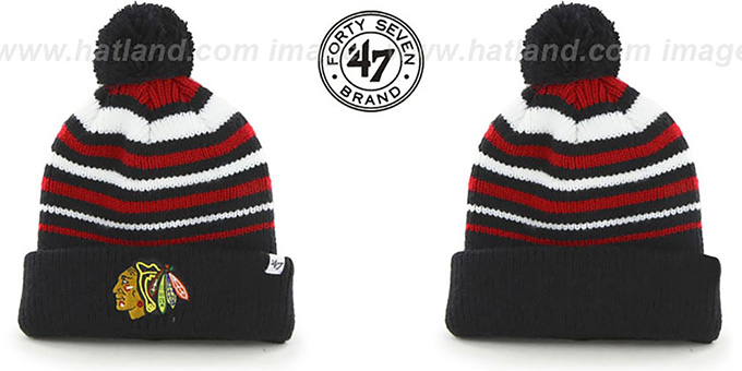 Blackhawks NHL 'INCLINE' Knit Beanie Hat by 47 Brand : pictured without stickers that these products are shipped with
