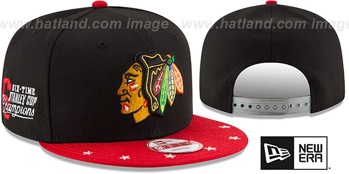 Blackhawks 'NHL STAR-TRIM SNAPBACK' Black-Red Hat by New Era : pictured without stickers that these products are shipped with