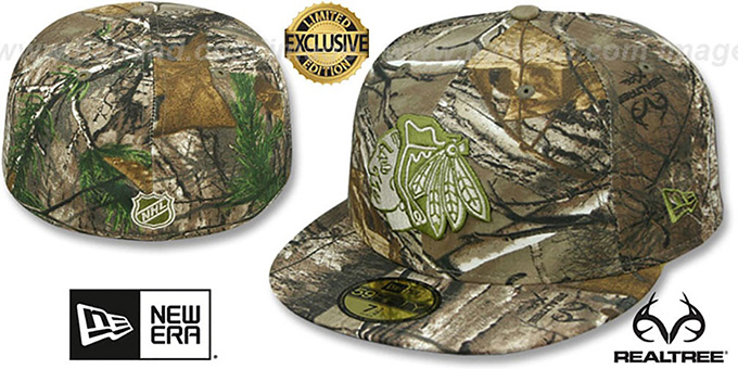 Blackhawks 'NHL TEAM-BASIC' Realtree Camo Fitted Hat by New Era : pictured without stickers that these products are shipped with