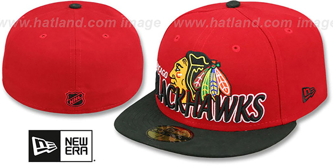 Blackhawks 'NHL-TIGHT' Red-Black Fitted Hat by New Era : pictured without stickers that these products are shipped with