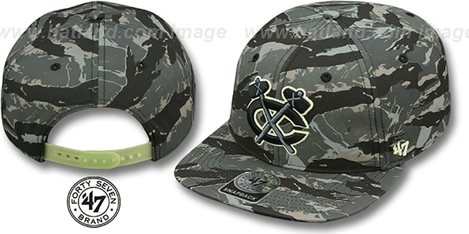 Blackhawks 'NIGHT-VISION SNAPBACK' Adjustable Hat by Twins 47 Brand : pictured without stickers that these products are shipped with