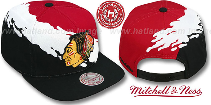 Blackhawks 'PAINTBRUSH SNAPBACK' Red-White-Black Hat by Mitchell and Ness : pictured without stickers that these products are shipped with