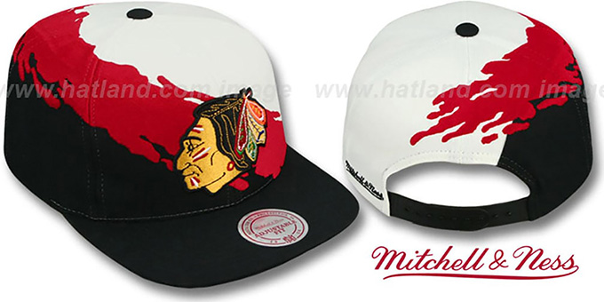Blackhawks 'PAINTBRUSH SNAPBACK' White-Red-Black Hat by Mitchell & Ness : pictured without stickers that these products are shipped with
