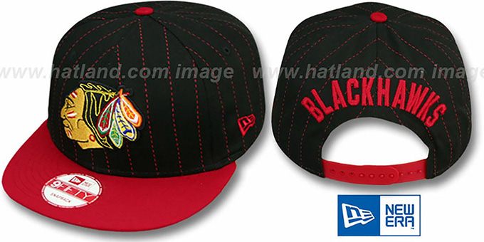 Blackhawks 'PINSNAP SNAPBACK' Black-Red Hat by New Era : pictured without stickers that these products are shipped with