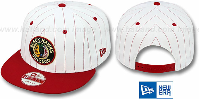 Blackhawks 'PINSTRIPE BITD SNAPBACK' White-Red Hat by New Era : pictured without stickers that these products are shipped with