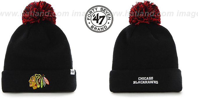 Blackhawks 'POMPOM CUFF' Black Knit Beanie Hat by Twins 47 Brand : pictured without stickers that these products are shipped with